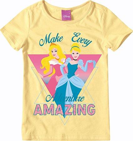 Blusa Princesas Da Disney- Aurora e Cinderela - Amarela -Malwee