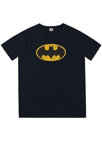 Camiseta Batman Manga Curta Adulta Fakini Preta