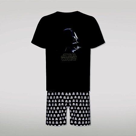 Pijama Adulto Star Wars Darth Vader e Stormtrooper - Preto Branco - Lupo