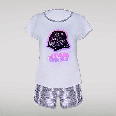 Pijama Adulto Feminino Darth Vader Star Wars - Branco e Cinza - Lupo