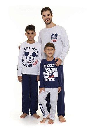 Pijama do Mickey Disney - Coleção Pai e Filho - Branco Azul e Cinza