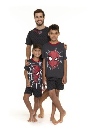 Pijama do Homem Aranha - Coleção Pai e Filho - Marvel Spiderman - Cinza Grafite