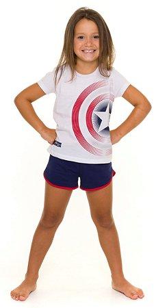 Pijama Infantil Menina Capitão América Branco e Azul Marinho - Coleção Família