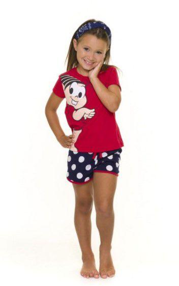 Pijama Short Doll infantil Mônica - Vermelho e Azul Marinho