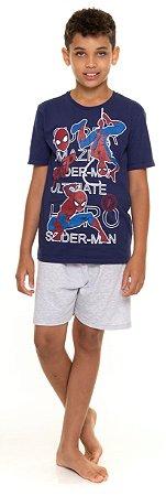 Pijama Juvenil Homem Aranha Cinza e Azul - Coleção Pai e Filho