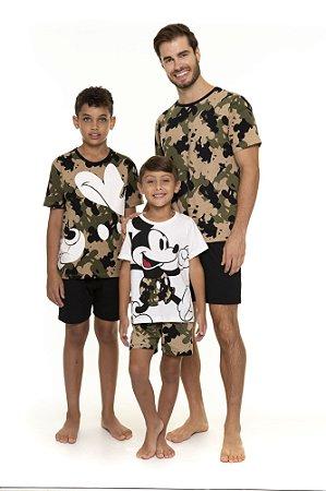 Pijama Mickey Camuflado - Coleção Pai e Filho - Verde Preto e Branco