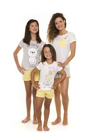 Pijama Short Doll dos Bichinhos - Coleção Mãe e Filha - Branca, Amarelo e Cinza