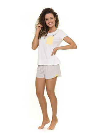 Pijama Short Doll Adulto Bichinhos - Branco e Cinza