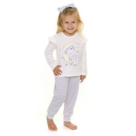 Pijama Infantil Ursinho - Primeiros Passos - Off-White e Cinza