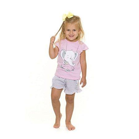 Pijama Short Doll do Elefantinho - Coleção Bichinhos - Rosa e Cinza