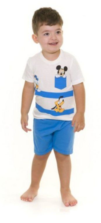 Pijama Infantil Mickey Disney - Primeiros Passos - Azul e Branco