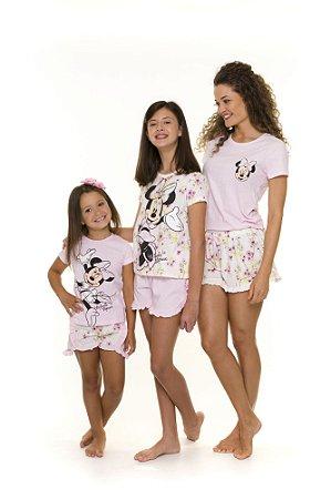 Pijama Short Doll Minnie Floral Disney - Coleção Mãe e Filha - Rosa