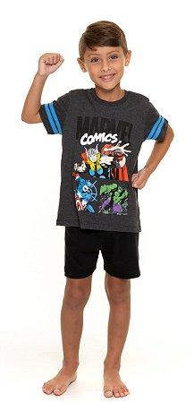 Pijama Infantil Avengers Cinza e Preto - Coleção Pai e Filho