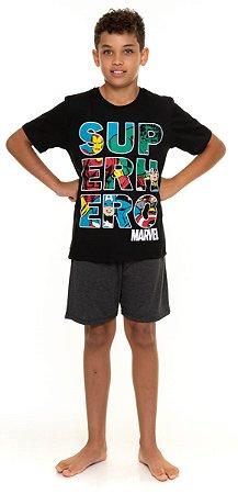 Pijama Juvenil Avengers Cinza e Preto - Coleção Pai e Filho