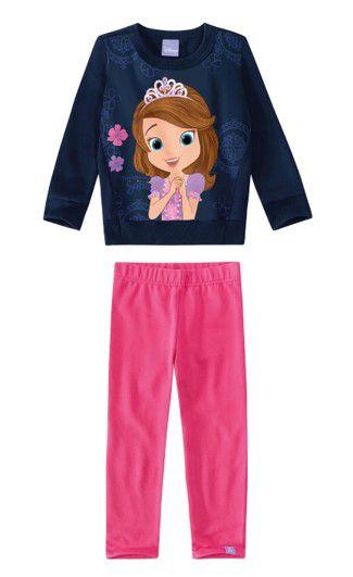 Conjunto de Blusa e Calça de Moletom - Princesa Sofia - Disney - Rosa e Azul Marinho - Malwee