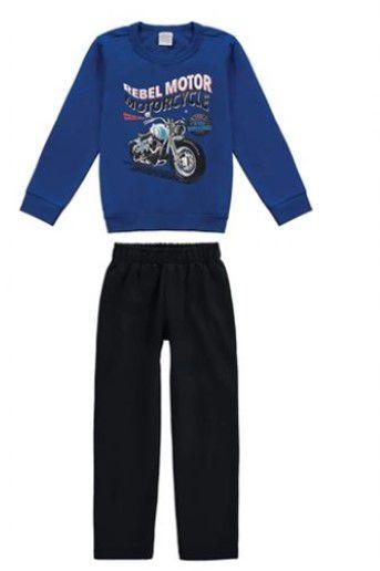 Conjunto de Blusa de Moletom e Calça Motorcycle - Malwee Kids