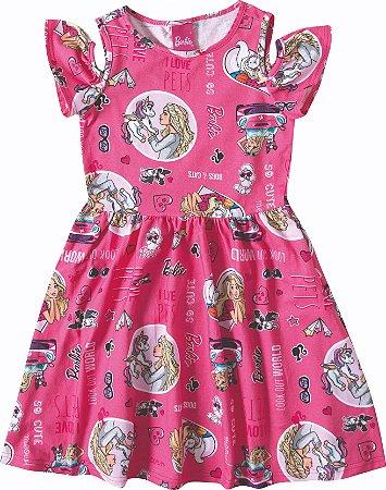 Vestido Infantil Barbie e Unicórnio - Rosa - Malwee