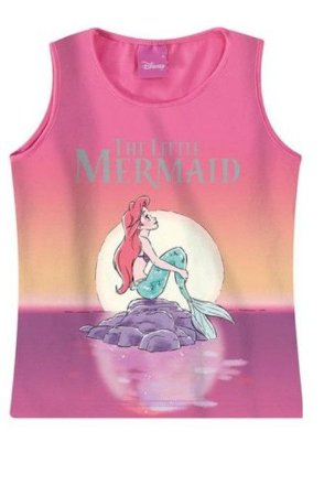 Blusa Regata da Princesa Ariel - Disney - Rosa Degradê - Malwee