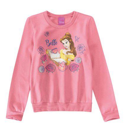 Moletom Princesa Bela Disney - Rosa Claro - Malwee