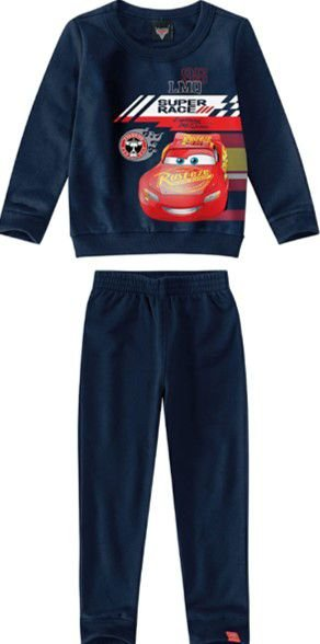Conjunto de Blusa de Moletom e Calça Carros - Azul Marinho - Malwee
