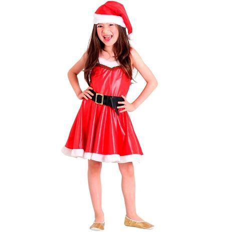 Fantasia Infantil de Mamãe Noel - Vermelha e Branco - Infantil