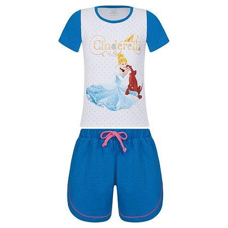 Pijama Infantil Princesa Cinderela - Branco e Azul - Lupo