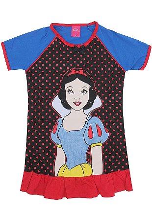 Camisola Infantil Branca de Neve Disney - Azul Preto e Vermelho - Lupo