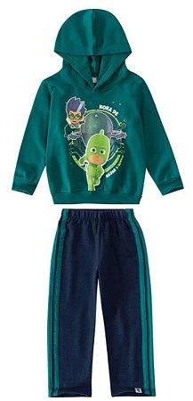 Conjunto de Blusa e Calça Moletom - Lagartixo - PJ Masks - Verde e Azul Marinho - Malwee