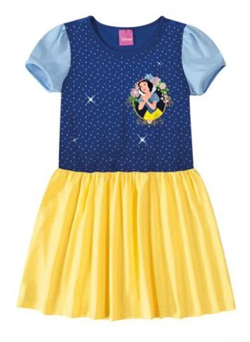 Vestido Infantil Princesa Branca de Neve Disney Amarelo Azul - Malwee