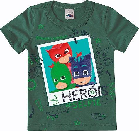 Camiseta PJ Masks Heróis Selfie - Verde - Malwee
