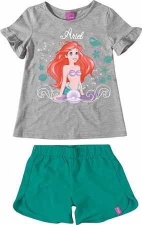 Conjunto Princesa Ariel Disney - Cinza e Verde - Malwee