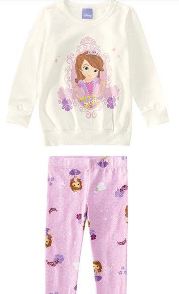 Conjunto de Blusa e Legging Estampada - Princesa Sofia - Disney - Off-White e Lilás - Malwee