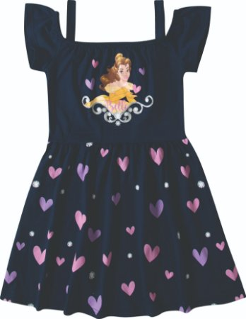 Vestido Princesa Bela Disney - Azul Marinho - Malwee