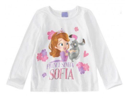 Blusa Infantil Princesa Sofia Branca - Malwee
