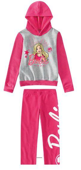 Conjunto de Blusa e Calça de Moletom - Barbie - Rosa e Cinza - Malwee