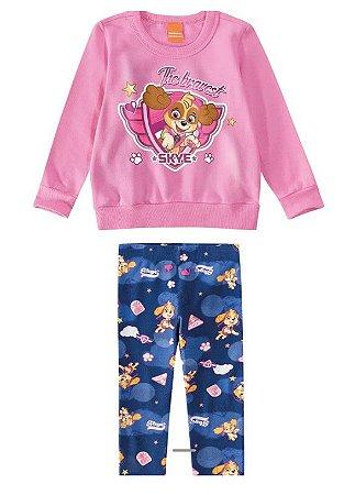 Conjunto de Blusa Moletom Rosa e Legging -  Skye - Patrulha Canina - Rosa e Azul - Malwee