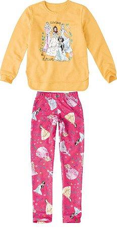 Conjunto Blusa Moletom e Legging Estampada - Princesas da Disney - Amarelo e Rosa - Malwee