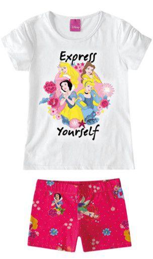 Conjunto de Blusa e Shorts - Princesas da Disney - Rosa e Branco - Malwee
