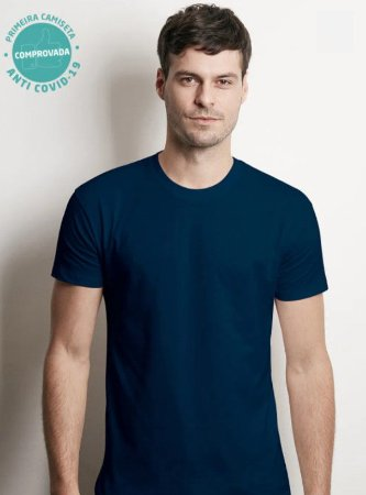 Camiseta Viroblock® Masculina - Anti Viral Malwee Protege - Azul Marinho - Adulto