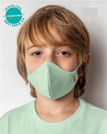 Kit 2 Máscaras Viroblock® - Anti Viral Malwee Protege - Branco e Verde Claro - Infantil - Tripla Proteção