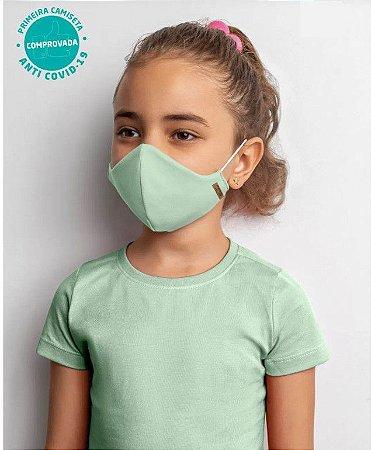 COMBO Blusa Verde Baby Look e Kit 2 Máscaras Viroblock® Infanto Juvenil - Malwee Protege