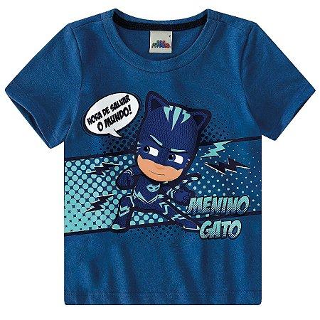 Camiseta PJ Masks Hora de Salvar o Mundo - Azul - Malwee