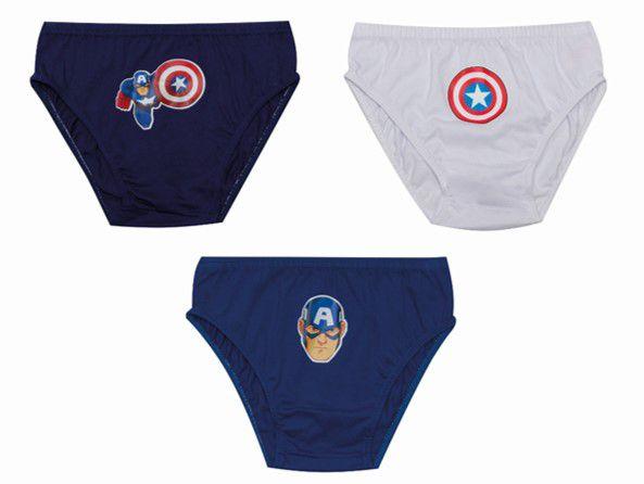 Kit Infantil 3 Cuecas Capitão América - Avengers - Azul e Branco
