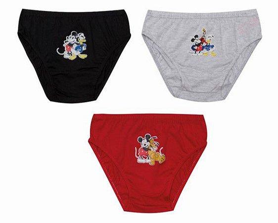 kit de 3 Cuecas da Turma do Mickey  - Modelo Slip - Disney