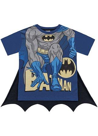Camiseta Batman com Capa - Azul e Preto - Fakini
