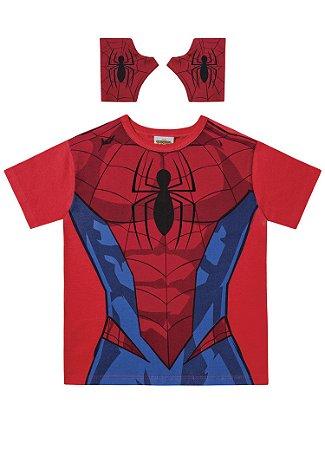 Camiseta do Homem Aranha - Com Luva - Vermelha - Fakini