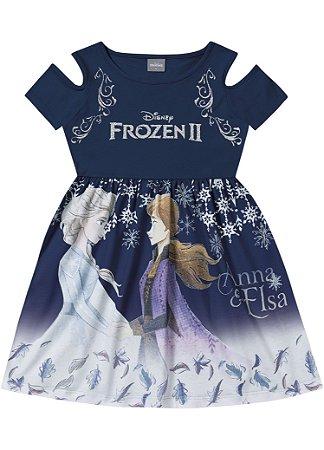 Vestido Frozen 2 Disney - Azul Marinho - Fakini