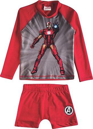 Camiseta Homem de Ferro - Conjunto Proteção UV 50 FPS  - Homem de Ferro - Vermelho - Tiptop