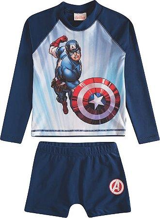 Conjunto Proteção UV Infantil Menino Capitão América Azul - Tiptop