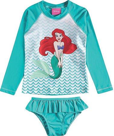 Conjunto Infantil Proteção UV 50 FPS Princesa Ariel - Verde - Tiptop